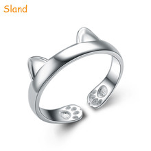 cartoon jewelry Adjustable 925 Sterling Silver Rings paw print design cat head ring open