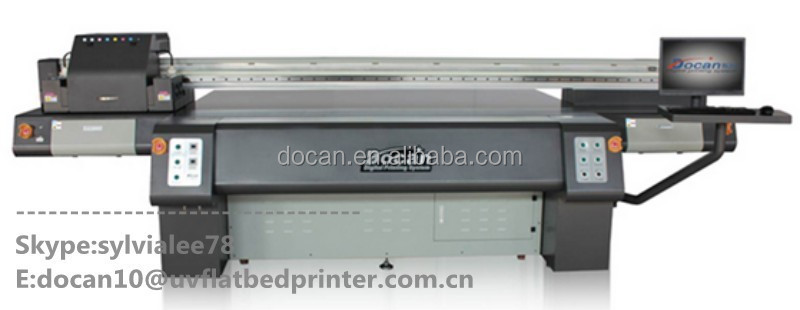Docan 2.5*1.6m high speed and high resolution uv flatbed printer for packing industry