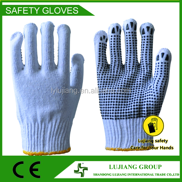 LUJIANG SAFETY pvc waven dots dotted cotton rubber dipped elastic cuff fit palm working gloves supplier