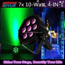 7x10W RGBW DMX Stage Lights Business Lights Led Flat Par High Power Light with Professional for Party KTV Disco DJ