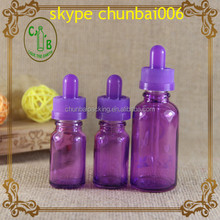 Hot sales 10ml 30ml purple eliquid glass dropper bottle with child safety cap and glass dropper
