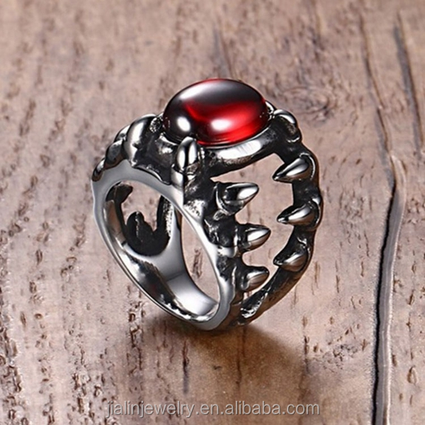 Punk style men's large ruby stone ring in stainless steel