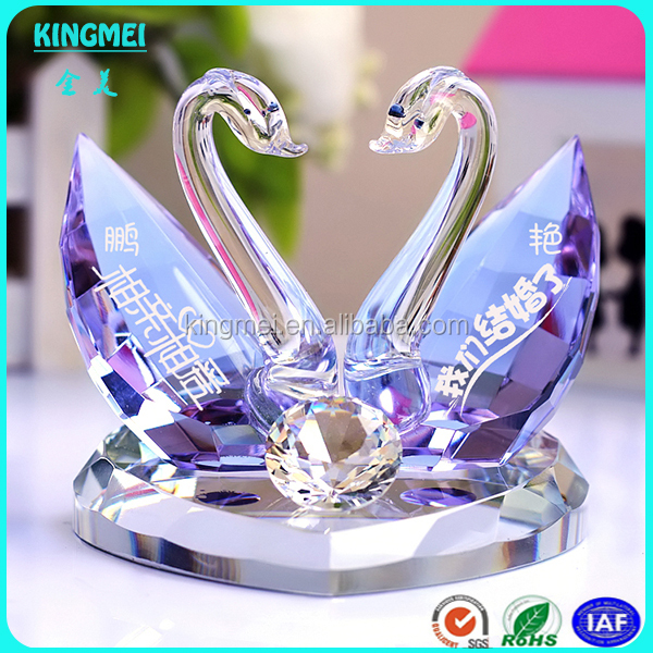 Kissing Sitting Crystal Double Swan For Wedding Crystal Gift Wholesale