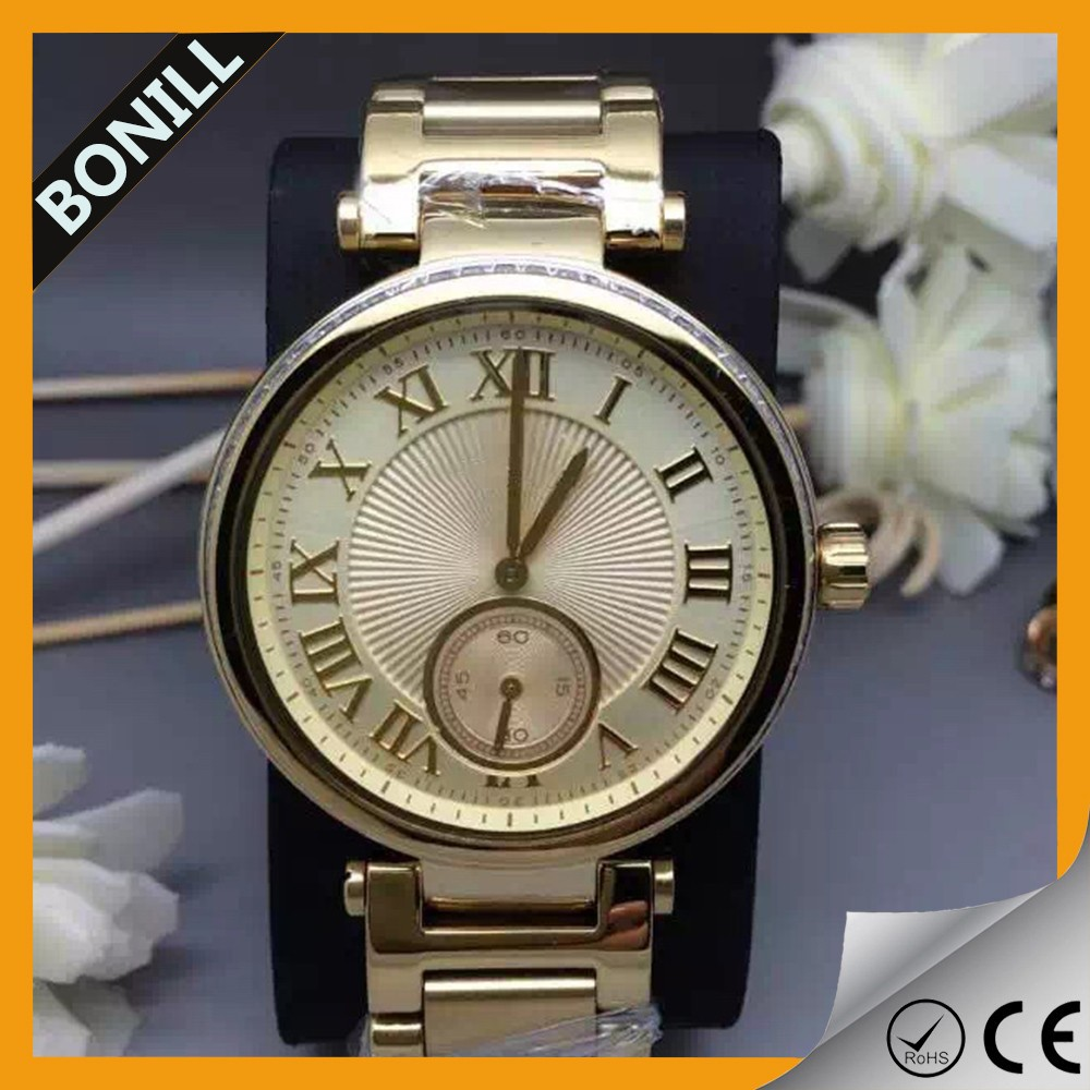 custom wholesale stainless steel band luxury women and mens gold watches with japan movt diamond quartz watch