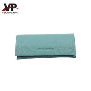 Soft green eyeglass leather case for sunglass