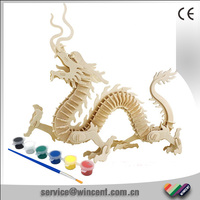 Kids Educational Toys Chinese Dragon Assembling 3D Wooden Puzzle