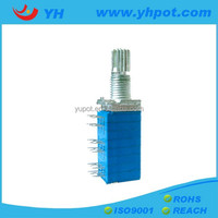 jiangsu 9mm low cost 6 gang rotary volume control 10k linear potentiometer with metal shaft