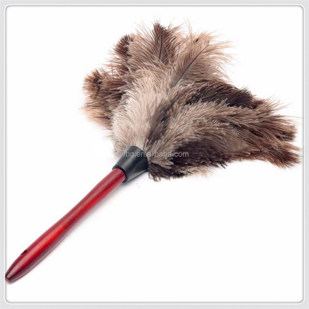Feather Duster with Red Hardwood Handle Gray Ostrich Feathers Hand Duster 15''