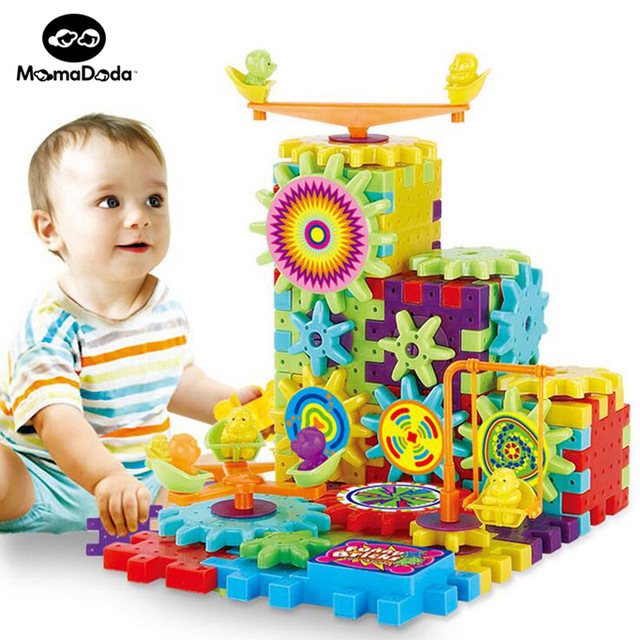 81 Pieces Electric Gear blocks 3D Puzzle Building Kits Plastic Funny Bricks Educational <strong>Toys</strong> For Children Christmas Gift