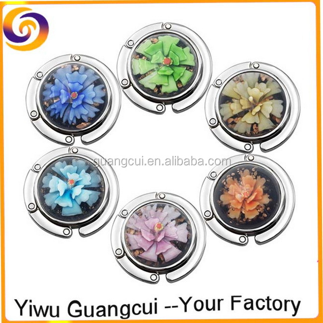 Promotional gift coloured glaze glass flower table purse hanger