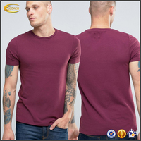 Ecoach high quality super soft red short sleeve crew neck 94%cotton 6%Elastane Slim fit fitness custom mens blank muscle t-shirt
