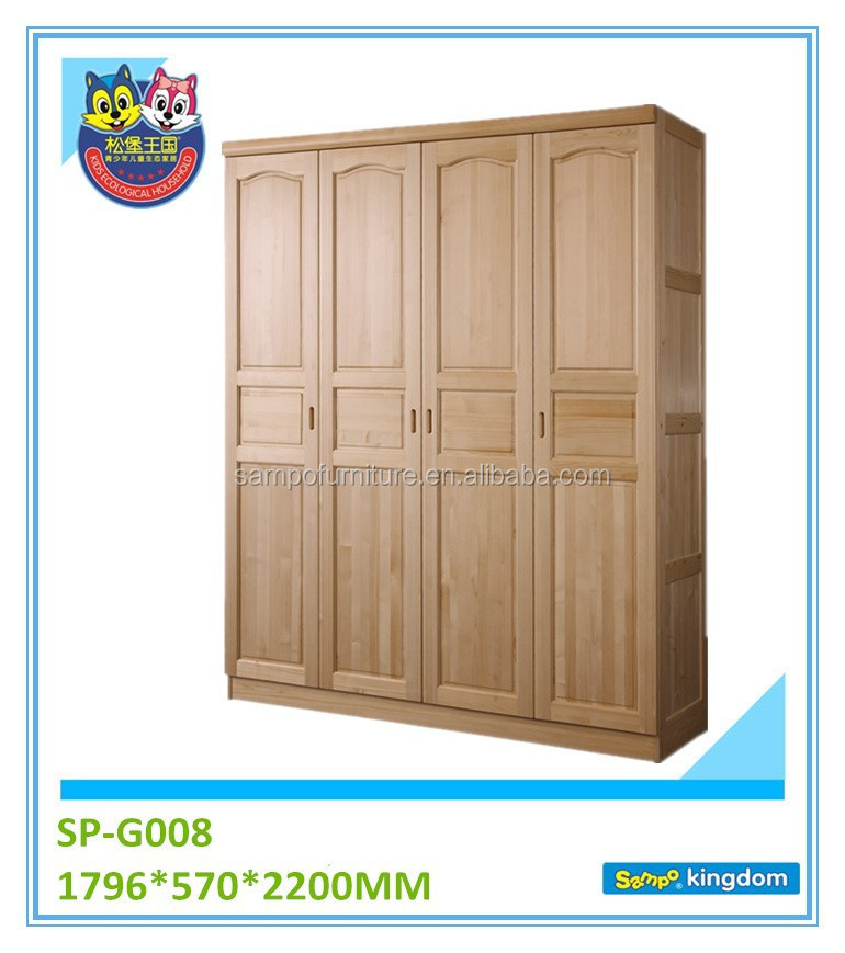 Solid pine wood wall wardrobe with 4 doors