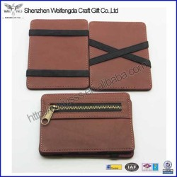 New arrival top grade leather magic wallet purse with zipper pocket