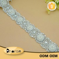 1 yard Shinning Dress 3D Flower Embellishment Bling Bling Decorative Rhinestone Trim DH1858