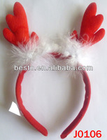 J0106 Fashion wholesale red reindeer antler christmas headband kids christmas items