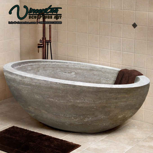 2018 New Custom Made Round Black Freestanding Natural Stone Bathtub For Sale Freestanding