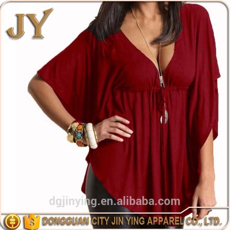 OEM Service Blouse Designs Fat Ladies Casual Tops and Blouse for women summer 2016 Plus Size