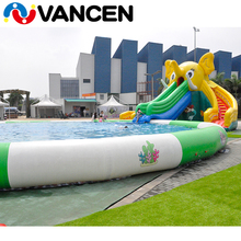 Vancen China industrial commercial summer Plato 0.55mm PVC tarpaulin quadruple stitch kids n adults inflatable water pool slide