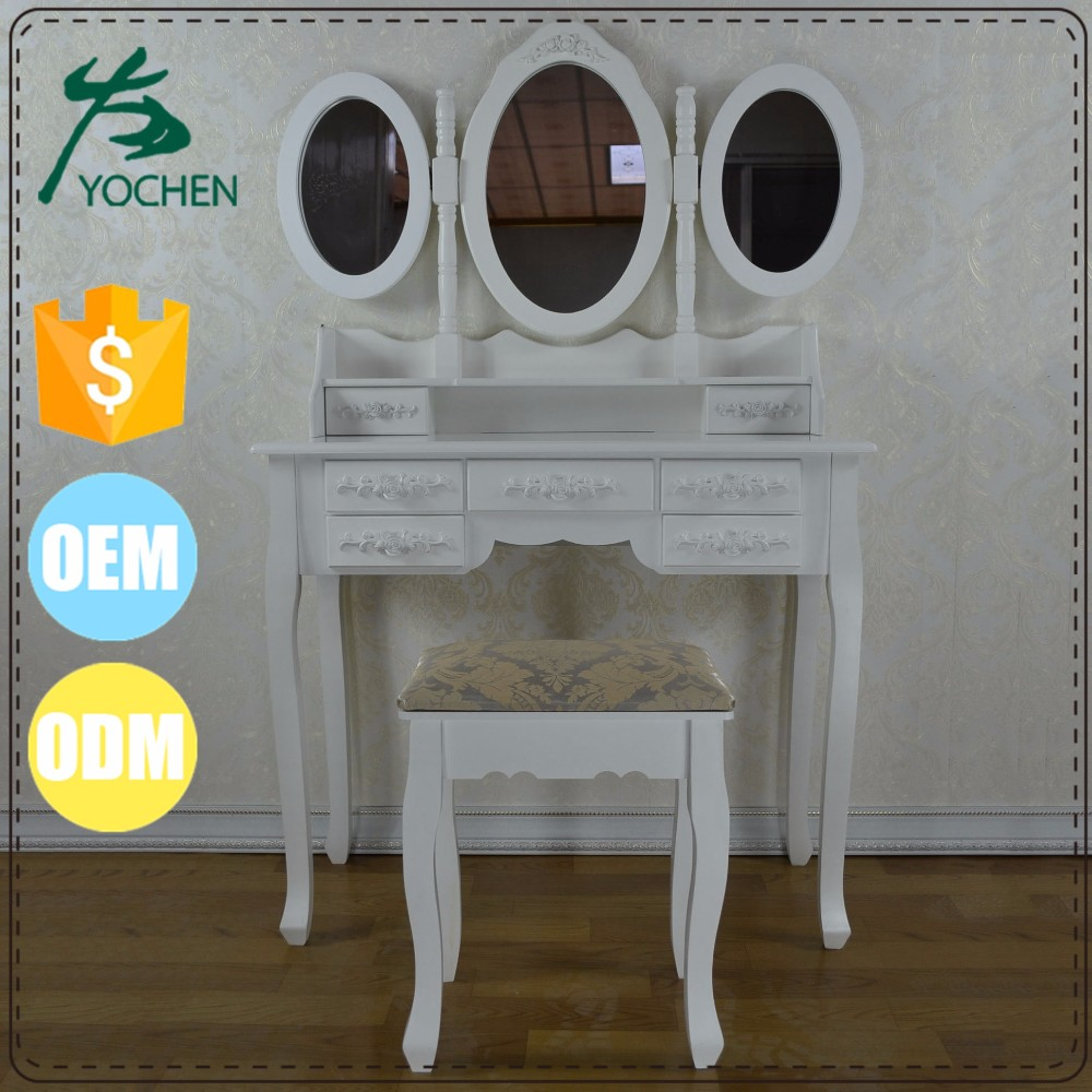 Wood White Painted Antique French Dressing Table with Mirror and Stool for Retail