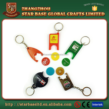 Custom made wholesales Plastic Coin Holder Keychain
