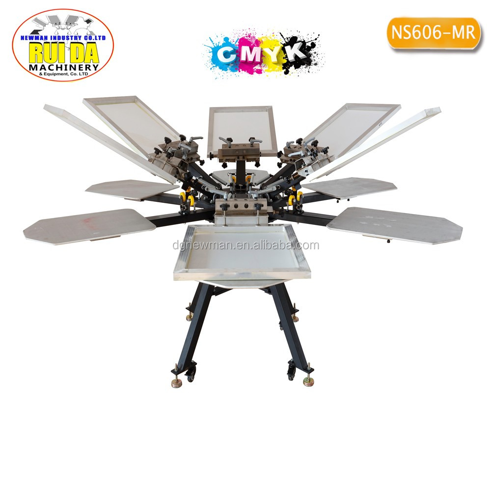 Best sale double rotary DIY T-shirt super market bags fabric clothes 6 color 6 station screen printer with micro-registration