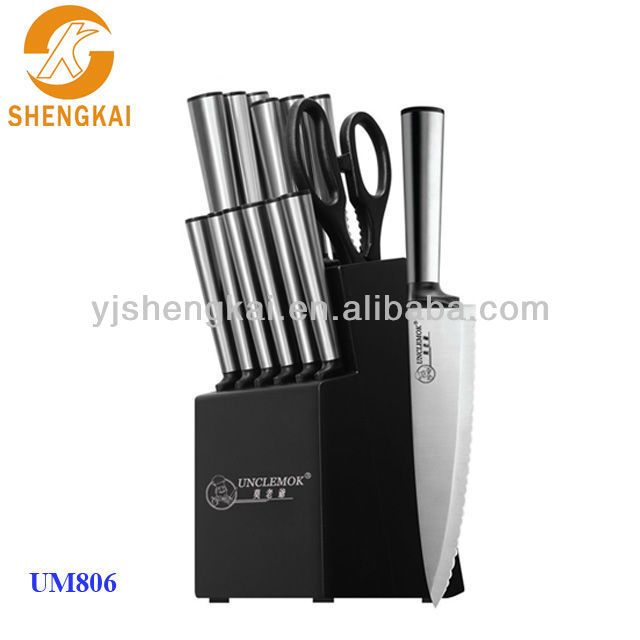 15pcs stainless steel hollow handle knife set kitchen with black knife block