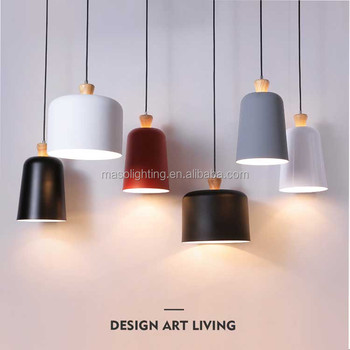 Nordic stylish Home Decor Modern Pendant Lamp Wooden Metal Water Bucket shape Ceiling Colorful European Novelty Art lights