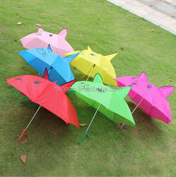 2017 promotional personalized lovely cartoon umbrella kids with whistle