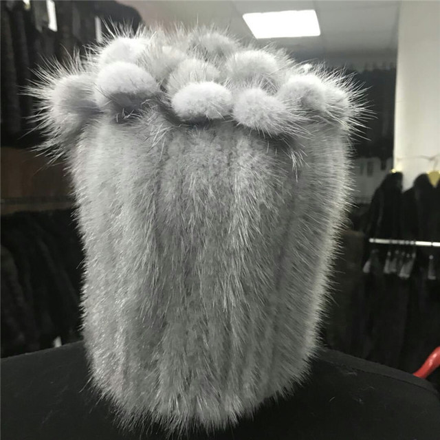 Factory wholesale winter knitted russian style 100% real mink fur hat for women