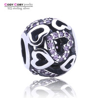 Hot New Products Wholesale Modern Jewelry Custom Sterling 925 Silver Lover Heart Ball nfl floating charms with Pink CZ Jewelry