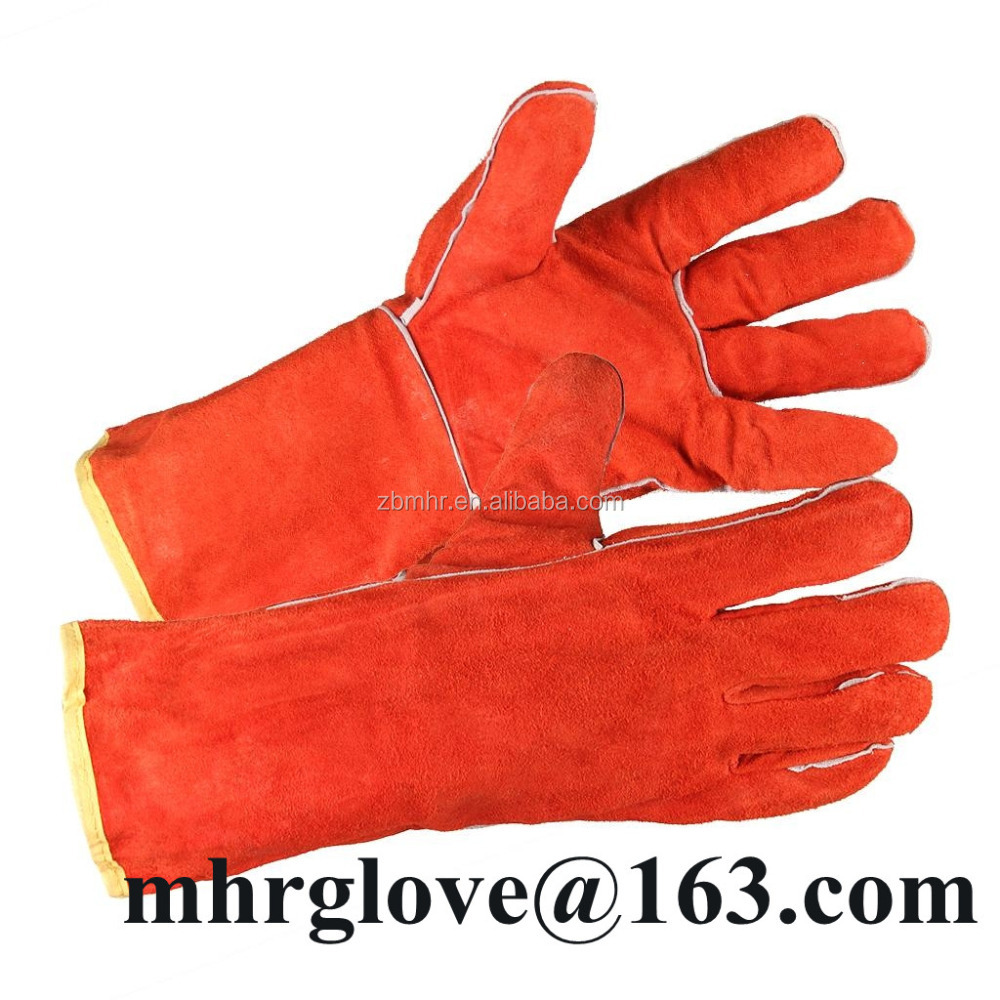 Brand MHR High performance 5 finger cut resistance cow split leather protective welding gloves