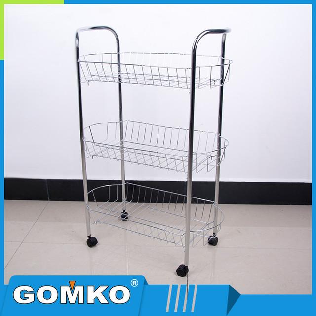 3 tier metal rack with wheels_Yuanwenjun.com