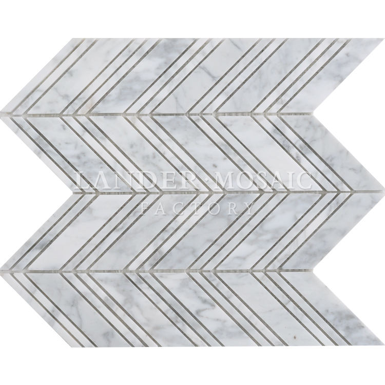 rhombus white and black flower color carrara white marble mosaic new design irregular exterior stone mosaic tile