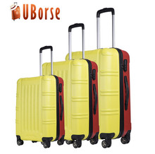abs+pc zipper trolley travel luggage 3 pcs set