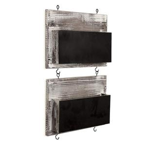 Rustic Barn wood Wall Mounted Chalkboard Mail Sorters with Key Hooks, Set of 2