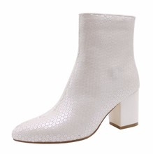 Customized 2017 Fashion Rubber EVA sequined Fabric High heel White Girls Boots for Women