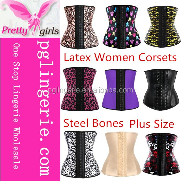 2017 Fashion Style Sexy Woman Underbust Latex Corsets Rose Latex Corsets And Bustiers