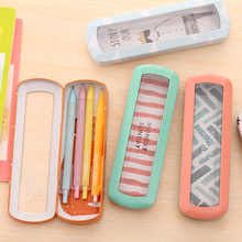 R1955H creative kawaii animal fruit pattern Iron Metal Transparent window Pencil Case box for pen Stationery Style Kids Gift
