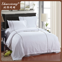White Plain Poly Cotton Bed Sheet Duvet Cover For Hotel Bedding Set