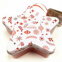 Decorative design christmas tin star packaging box for gift
