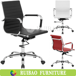 High Quality Luxury Italian PU Leather Low and High Back Executive Office Chair With Chrome Plating Legs