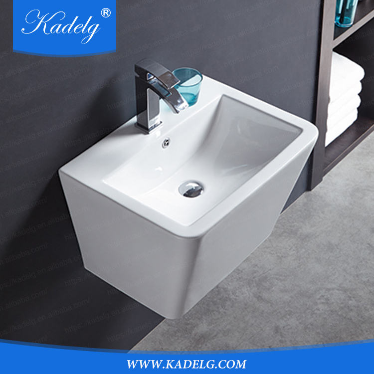 Rectangular Shape Poreclain Wall Sink for Bathroom Design