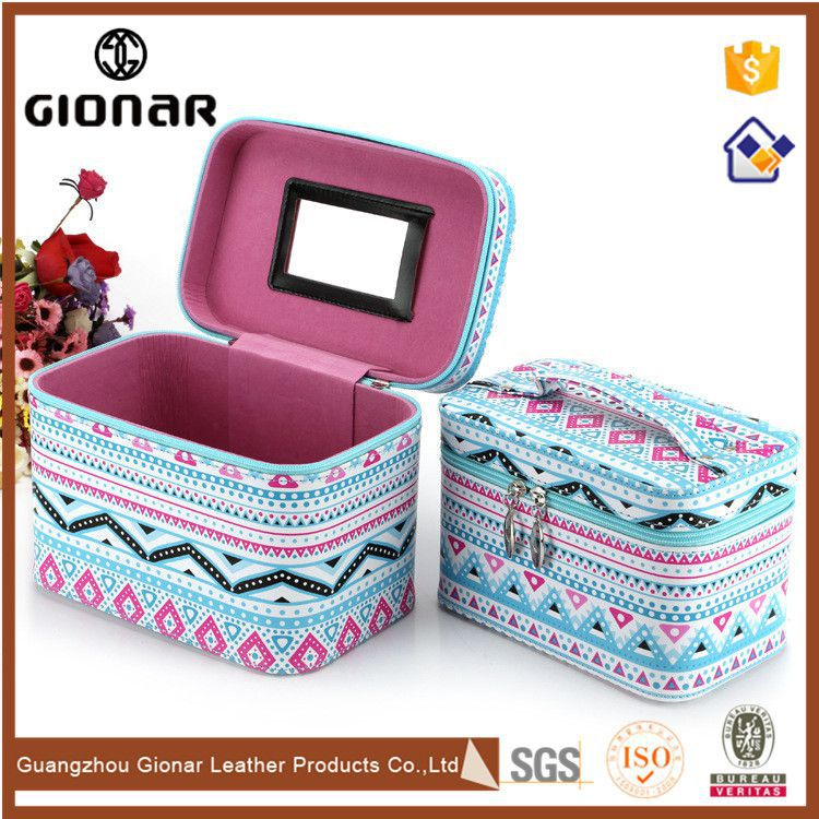 Wholesale Customized Waves Pattern PU Cosmetic Toilet Bag Sets with Mirror