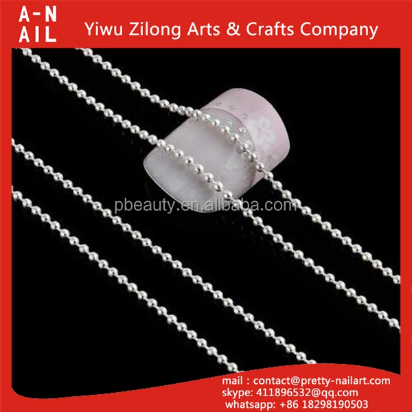 Factory supply fashion metal nail art pearl chain