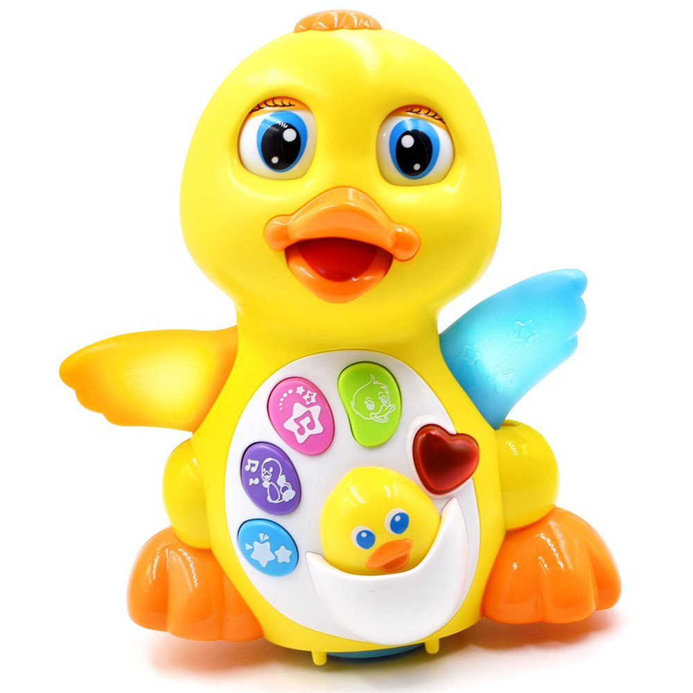 2017 New Style Yellow Swing Wheel Duck Educational Music LED Light Toy For Baby Kids