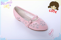 new stylish girls pink shoes for kids party ,princess children girls beautiful flat shoes