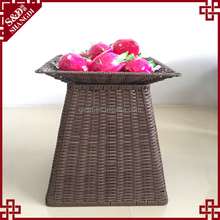 Customized size woven rattan fruit vegetable basket set supermarket rack