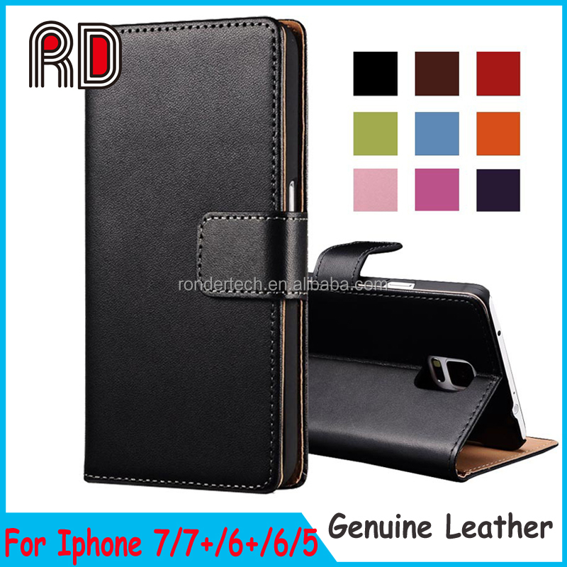 Lower price Stand Wallet Genuine Leather Flip Case For Iphone 7 real leather back cover for iphone 7 plus 6s 6plus 5