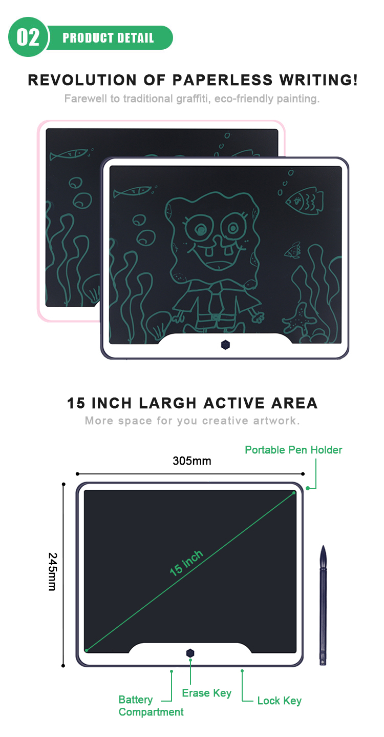 Custom 15 Inch Electronic Lcd Graphic Drawing Tablet E Ink Digital Smart Handwriting Erasable Memo Pad