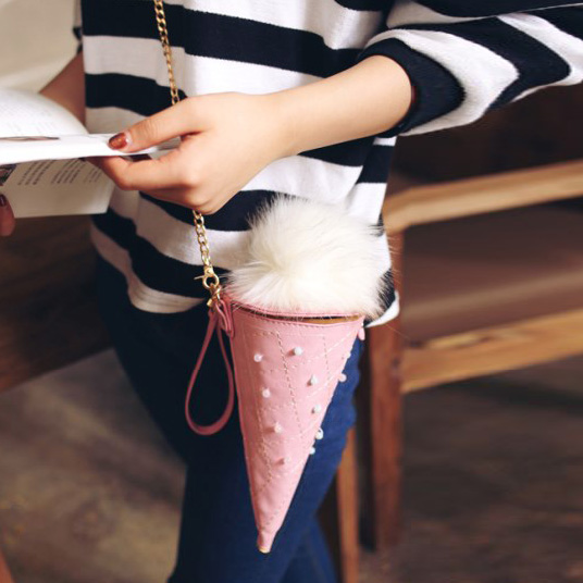 2017 new style fashion ice cream ladies PU bags handbag with fur pom pom